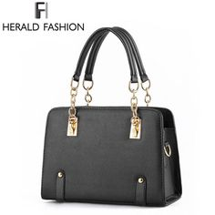 Herald Fashion Luxury Women Handbag PU Leather Casual Tote Chain Handle Shoulder Bags Solid Hard Sequined Female Handbag
