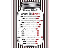 Mason Jar Guess Who Game, Bridal Shower Game, Couples Shower Game, Black and White, Instant download