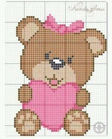 Teddy Bear with heart Baby Cross Stitch Patterns, Cross Stitch Baby, Cross Stitch Animals, Hand Embroidery Patterns, Cross Stitch Kits, Cross Stitch Charts, Cross Stitch Designs, Cross Stitching, Cross Stitch Embroidery