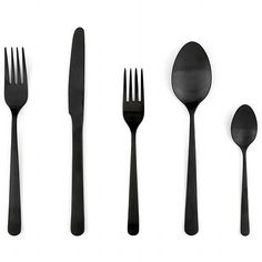 For the dining table; matte black flatware by Portugese family-run company Almoco. Nice and dishwasher proof.