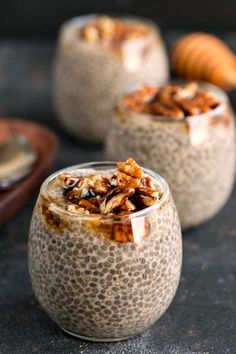 Sticky Bun Chia Seed Pudding (3 servings?)  2 c. Silk Unsweetened Cashew Milk 1/2 c. chia seeds 2 T. agave 1 T. brown sugar 1 tsp. ground cinnamon 1 tsp. vanilla extract Sticky Pecans 2 T. real maple syrup 2 T. agave Pinch of salt 3/4 c. chopped pecans