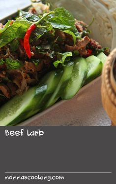 Beef larb   Also known as laab and laap, this recipe for spicy Laotian beef salad is packed with flavour thanks to a plethora of Asian herbs, a good hit of chilli and a dash of the pungent fermented fish sauce called padaek. Larb is usually served with steamy hot sticky rice as a main dish or as an appetiser. Recipes With Fish Sauce, Chilli Recipes, Best Salad Recipes, Beer Recipes, Steak Recipes, Sauce Recipes, Asian Recipes, Ethnic Recipes, Dishes Recipes