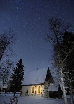 This photo was taken in the village of Lungre in northern Sweden. It is of a church from the 12th century that is still in use today. I was taking photographs of the starry skies in the village and this church seemed like a good setting for something as timeless as the stars.