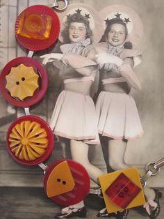 BAKELITE Wonderful Classic Red and Yellow by OneWomanRepurposed
