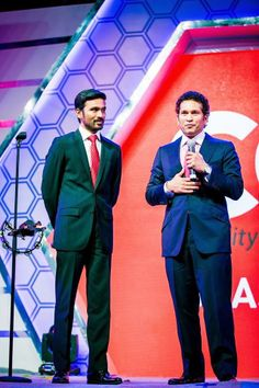 #Sachin with #Dhanush at #CCL 4 launch