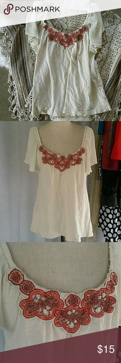 Anthropologie Deletta Embroidered Top Size small Beaded and embroidered top  Cream color  Euc worn a few times but still quite lovely. A very small snag or 2 on the sleeves but not very noticeable. Very flattering and perfect for summer.  Bundle with other items from my closet for a private offer. Anthropologie Tops Blouses