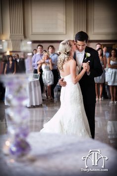 Bride And Groom Dancing Inside The T Historic Train Station In Fort Worth Texas On Their