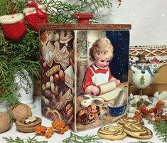 """Купить короб для сладостей """"Рождественское печенье"""" - коричневый, Декупаж, декупаж работы, коробка для мелочей"""