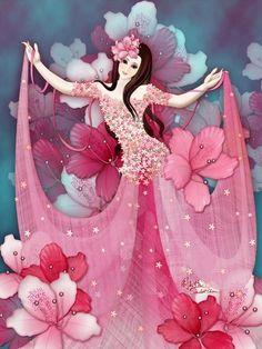 Digital Art by Scarlett Chou ~ floral & feminine beauty