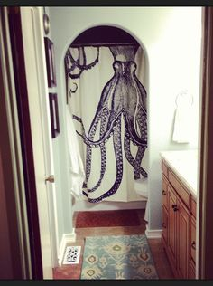 Thomas Paul octopus shower curtain in ink