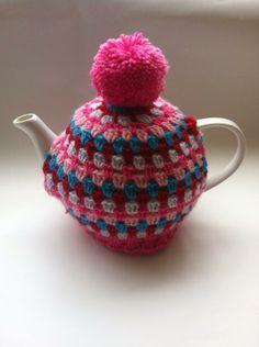 Pompom Tea Cosy, Crochet fab pretty pinks and purple, multi colours Best Tea, Cosy, Pretty In Pink, Tea Pots, Tea Cosies, Colours, Crafty, Knitting, Purple