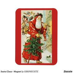 Santa Claus - Magnet - home gifts ideas decor special unique custom individual customized individualized Santa Christmas, Christmas Cards, Xmas, Family Holiday, Holiday Gifts, Retro Ideas, Vintage Gifts, Home Gifts, Photo Cards