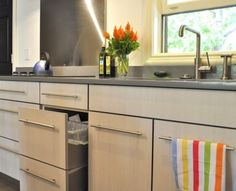 Like the light wood grain cabinets - I really like the pale wood with the grey counters.