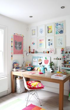studio, home, interior, colour, desk, work space, office, shelving, storage