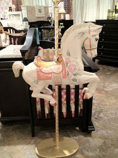 Georgia Baby and Kids Furniture ~ Carousel Horse ~ Any little girl would be very happy to have this work of art to play on ❤ Carousel Birthday Parties, Carousel Party, Circus Party, Modern Dollhouse, Victorian Dollhouse, Baby Shower Niño, Hobby Horse, Carousel Horses, Unicorn Party