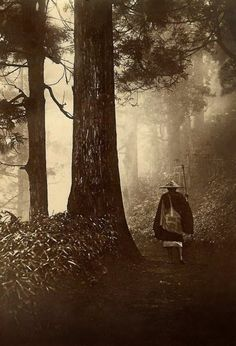 Temple pilgrimage: Traveler on a forest road (Japan - late 1800s / early 1900s)