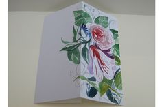 Rose garden. Hand made  greeting card that would be perfect for any life event and celebration moment. Flowers and leaves. Delicate and soft. #birthday #Christmas #NewYear