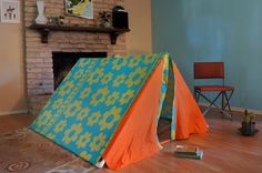 Upcycled Vintage Bedsheet Kid's Tent. So cute!