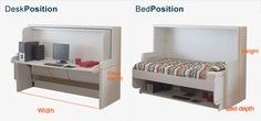The hidden bed and desk is an amazing space saving bed that is both a desk and bed in one unit