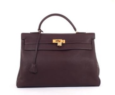 Hermes Clemence Brown Kelly 40 Cm Handbag Gold Hardware