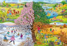 Four Seasons - jigsaw puzzle pieces) Seasons Kindergarten, Kindergarten Pictures, Science Art, Science And Nature, Four Seasons Art, English Creative Writing, Puzzle Art, Cartoon Pics, Illustrations And Posters