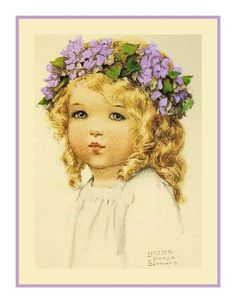 Illustration Enfant Bessie Pease Gutmann Little Girl with Lavender Flowers Countd Cross Stitch Chart Vintage Girls, Vintage Children, Vintage Art, Vintage Style, Baby Illustration, Botanical Illustration, Bessie Pease Gutmann, Christmas Dragon, Magazine Crafts