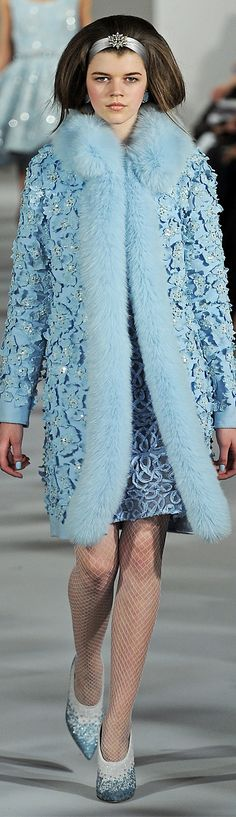 Oscar de la Renta ~ Fur Trim Blue Sequin Top Coat