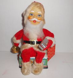 Japanese Tin Litho Santa Claus Light Up Battery Operated Motion Christmas #Unknown