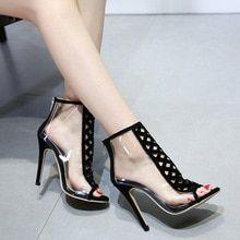 43138fcf4830b 2019 New Style Summer Shoes Pumps Transparent Heels Clear High Heels  Sandals Shoes Gladiator Sandals Women