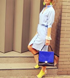 Periwinkle Negarin Summer dress, Céline bag, and Balenciaga shoes!! Get perfect look for this summer: http://negarinlondon.com/store/!
