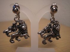 Crowned Lion Earrings/clip on by CreationsbyMaryEllen on Etsy, $7.99