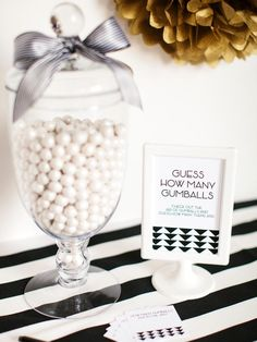 """Game~Printable game cards for, """"Guess How Many Gumballs"""". Click pdf link: http://img.diynetwork.com/DIY/2014/02/12/DO_NOT_RESIZE_CI-Tomkat-Studio-black-white-gumball-guessing-game-cards.pdf"""