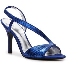 Lulu Townsend Viandra Sandal ($40) ❤ liked on Polyvore featuring shoes, sandals, heels, blue, bridal shoes, blue heeled shoes, sequin sandals, evening sandals, cocktail shoes and blue wedding shoes