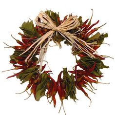 Chili Wreath For Kitchen Dried Chili Pepper Wreaths Dried Flower Wreaths, Dried Flowers, Diy Wreath, Door Wreaths, Wreath Ideas, Christmas Wreaths, Christmas Decorations, Holiday Decor, Dried Eucalyptus