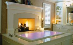 overflowing bath next to the fire....sold.
