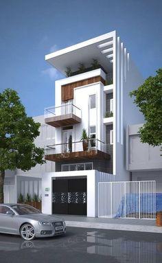 dream house: The design of the house was beautiful. House Front Design, Modern House Design, Modern Exterior, Exterior Design, Residential Architecture, Modern Architecture, Building Design, Building A House, Narrow House