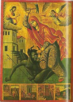 The Hammer of Saint Marina -- A malicious demon, found he could not vanquish one… Religious Images, Religious Icons, Religious Art, Ste Marguerite, Saints, St Margaret, Ange Demon, Sainte Marie, Byzantine Icons
