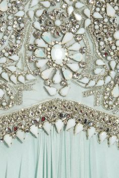 Marchesa Mint Embellishment by heather - Beading Crafts Couture Embroidery, Beaded Embroidery, Embroidery Designs, Couture Details, Fashion Details, Fashion Design, Tambour Beading, Lesage, Arte Floral