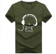 BINYUXD Top Quality T Shirts Fashion Headset Cartoon Printed Casual T Shirt Men Brand T-shirt Cotton Tee Shirt Plus Size 5XL