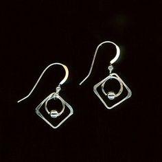 Square Wire Earrings Hoop Beaded Earrings, Wire Jewelry Beads Sterling Silver Earrings Circles Squares Beads, Dangle Earrings, Wire Jewelry