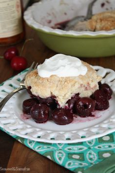 Cherry Cobbler with Bourbon Whipped Cream from Seaweed  Sassafras