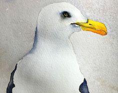 Acuarela original del arte de la aves pintura acuarela Ave Gaviota por Betty Moore