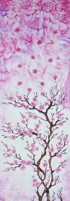 Hand painted silk scarf Sakura flower by JoannaArtDesign on Etsy