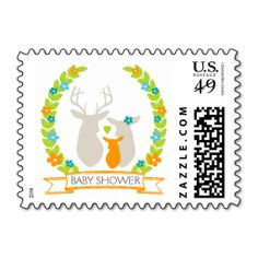 Whimsical Woodland Deer Family Baby Shower Postage Stamps