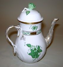 "Elegant Vintage Hungary Herend Green Roses Chinese Bouquet 6.5"" Mini Coffee Pot"