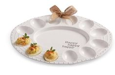 Mud Pie Circa Collection White Easter Deviled Egg Happy Dish Plate 4071043 New #MudPie