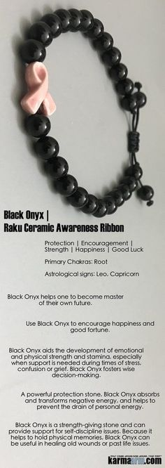 #Breast #Cancer #Awareness #Ribbons #BEADED #Yoga #BRACELETS - Use #Black #Onyx to encourage #happiness and good #fortune. It helps one to become master of their own future. It is a #strength-giving #stone.  #Survivor #Chakra #Mens #gifts #him #Stretch #Womens #jewelry #gifts ♛  #Tony #Robbins #Eckhart #Tolle #Crystals #Energy #gifts #Handmade #Healing #Kundalini #Law #Attraction #LOA #Love #Mala #Meditation #prayer #Reiki #mindfulness #wisdom #Fashion #birthday #Lucky #Spiritual