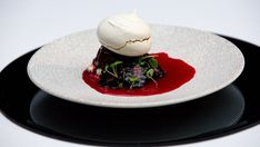 This modern pavlova is paired with a refreshing beetroot and blackberry sorbet, sweet lemon cream and a hint of heat from the Szechuan peppercorns. Lamb Koftas, Masterchef Recipes, Onion Jam, Greek Yoghurt, Lemon Cream, Ice Cream, Dessert Recipes, Desserts, Dessert Ideas