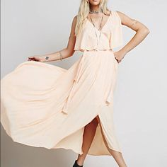 Free People Fiona's Wrap Maxi Dress peach Amazing dress great for spring super soft and looks great a must have Free People Dresses Maxi