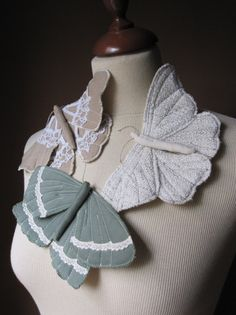 Butterfly Moth Brooch in Fabric and Vintage Lace